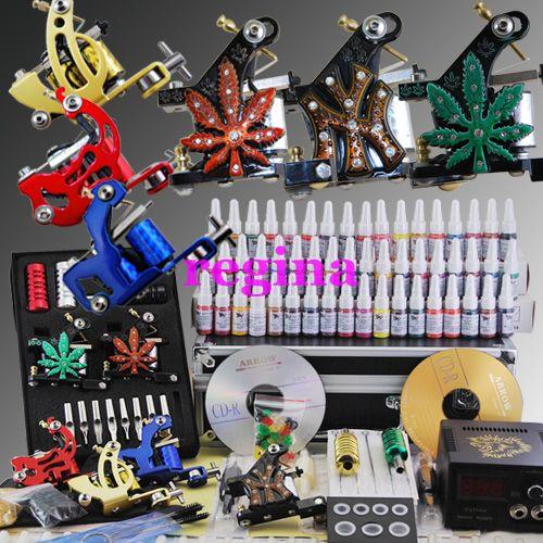 Tattoo kits 6 hine guns 54 ink power needle wholesale for Grasshopper tattoo supply