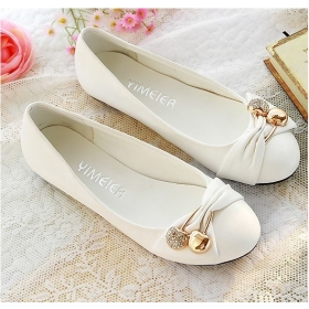 Women/Lady White Leather Loafer Oxford Flat Shoe Lace Up Brogue