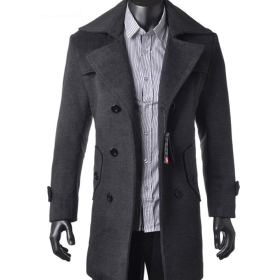 Free shipping wholesale fashion Men wool long trench coat winter outerwear warm jacket busniess double-breasted overcoat   C