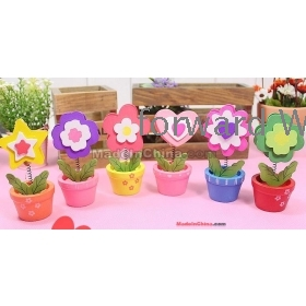 Free Shipping factory wholesale Lovely woodiness flowerpot fun card holder note clip 10pcs  NH