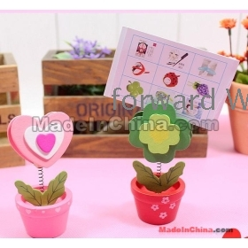 Free Shipping factory wholesale Lovely woodiness flowerpot fun card holder note clip 10pcs JM