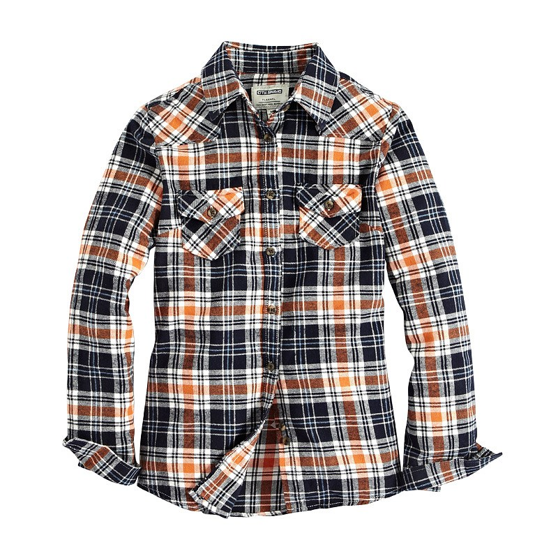 Vancl Makayla Plaid Flannel Shirt Navy Blue Orange