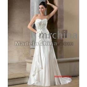 2012 Custom  A-Line Sweetheart satin hand- flowers Chapel train The bride wedding dresses