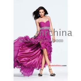 Strapless high-low Chiffon with beaded belt faviana long prom dress 2012