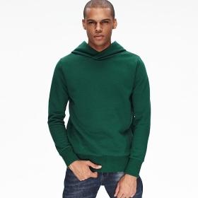 VANCL Long Solid Pullover Hoodie (Men) Deep Green SKU:180905