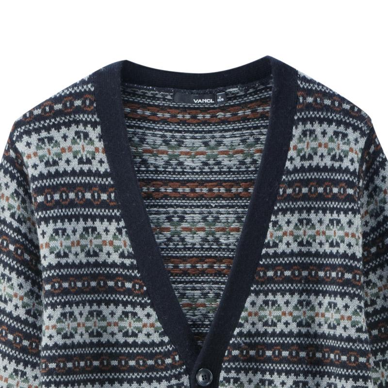 VANCL Fair Isle Pattern Jacquard Cardigan Black – Wholesale VANCL ...
