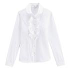 VANCL Nancy Solid Ruffle Blouse (Women) White SKU:193768