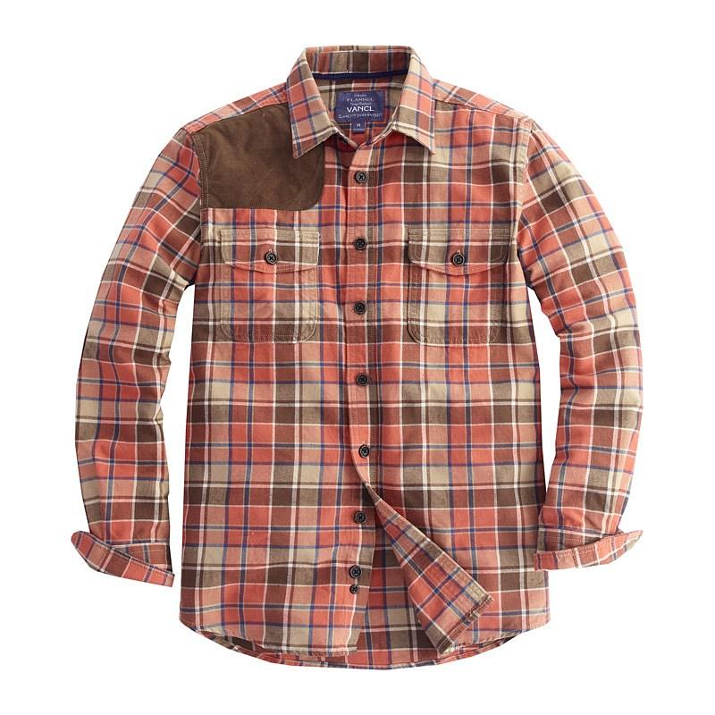 Vancl shoulder patch plaid flannel shirt men wholesale for Mens flannel shirt with elbow patches