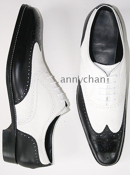 La Milano Men's Black White Genuine Leather Dress Shoes Wingtip
