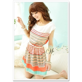 2013 summer New Colorful Stripes Chiffon Dress Free Bowknot Belt Women's Dresses free shipping W3188