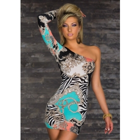 Unsymmetrical one sleeves sexy dress mini club dress fashion design size free new style+ free shipping W1328