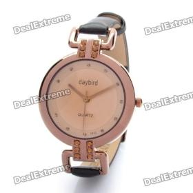 Divat PU Leather Band Wrist Watch - Kávé (1 x LR626) SKU: 117.697