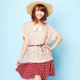 VANCL Sylvia Hollow Knit Sweater Pink SKU:179342