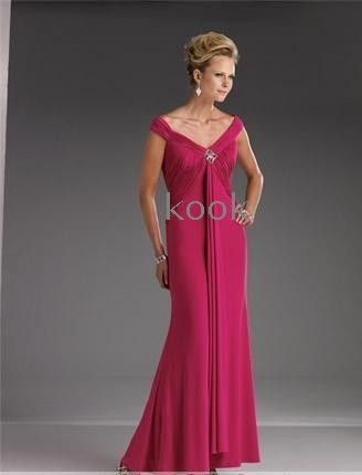 b59eb6f2685 Wholesale - free shipping Mother of the Bride Dresses fuchsia satin and chiffon  ankle length V