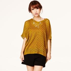 VANCL Tatiana Hollow Knit Sweater Mustard SKU:179346