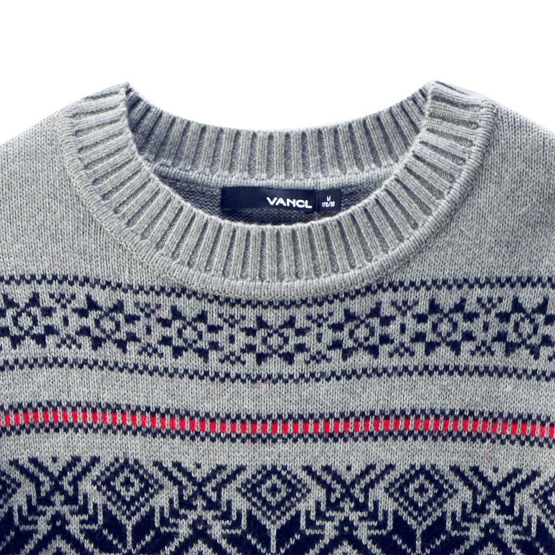 Mens Fair Isle Sweater Knitting Patterns : VANCL Fair Isle Pattern Jacquard MEN Sweater Gray   Wholesale VANCL Fair Isle...