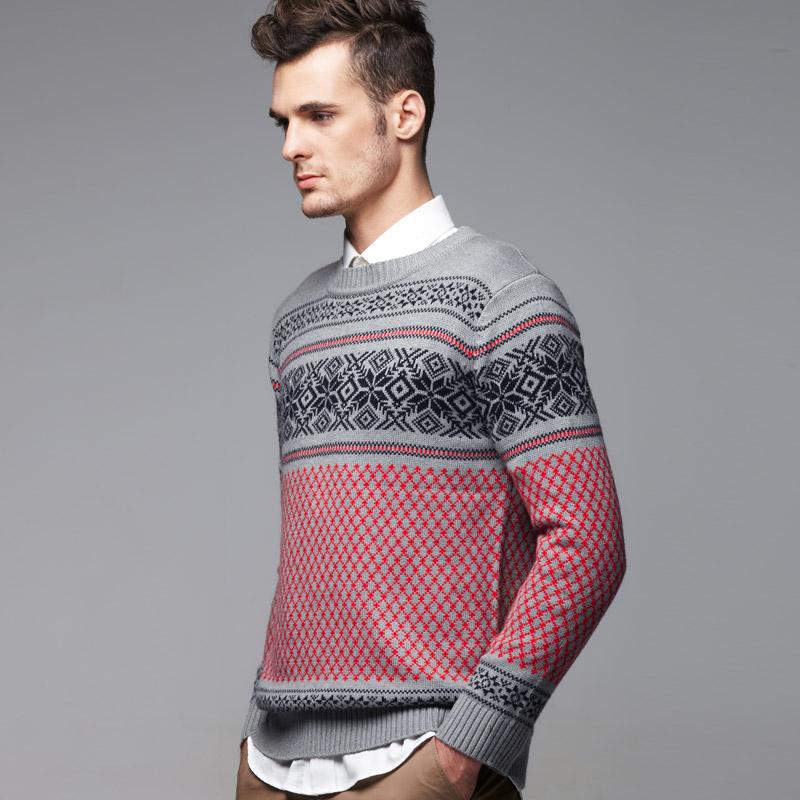 VANCL Fair Isle Pattern Jacquard MEN Sweater Gray - Оптовые VANCL ...