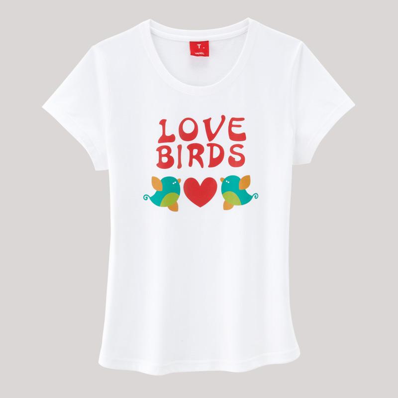 VANCL [VT] Love Birds T-Shirt (Women's) White SKU:8381