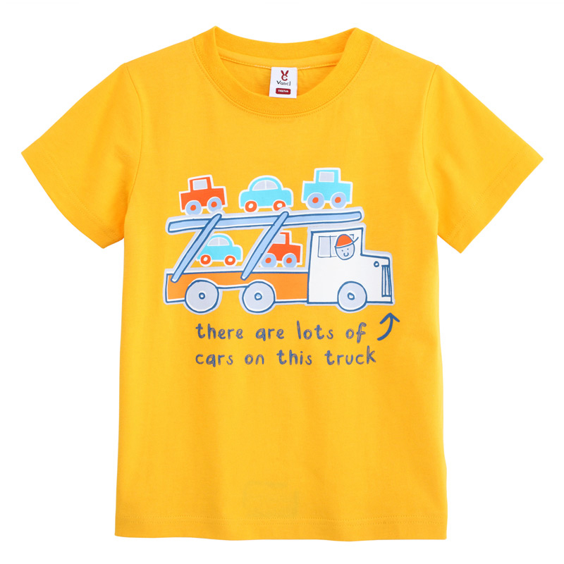 Vancl truck t shirt kids yellow sku 36101 wholesale for Yellow t shirt for kids
