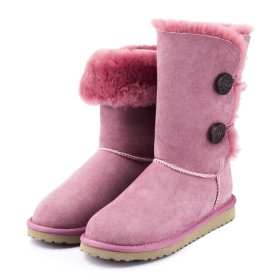 VANCL Double Face Shearling Side Button Snow Boots Pink SKU:140241