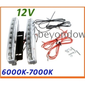 High quality 2X Super Bright White 8 LED DRL Car Daytime Running Light  Lamp free shipping