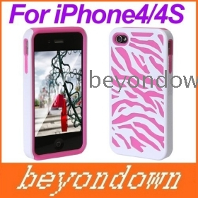 High quality Hybrid Zebra Protective Back Case Cover Skin for  ig  White Pink, Free Shipping+Drop Shipping PA1346