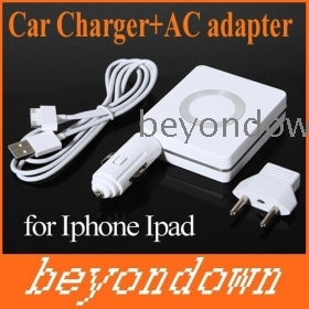 High quality 3-in-1!Car Charger and AC Adapter with USB Port for    3G  4G ,Free Shipping+Drop Shipping