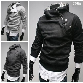 free shipping brand new Male Inclined zipper design catch hair even cap knitting coat clothing size M L XL XXL
