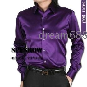 Promotion price!!! free shipping brand new shiny silk satin long-sleeved shirt Men's SA014 long sleeve clothing --8