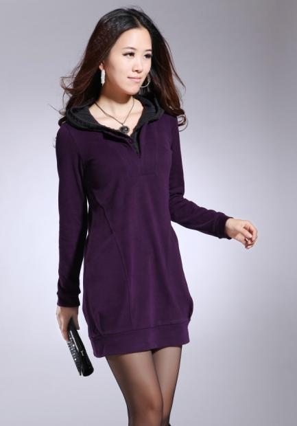 hete koop !gloednieuwe dames Leisure kleding lengte rok fleeces Dikke kleding maat ML XL T2
