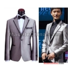 2012 design gray Groom Dress Suit 4 Pieces Set(Jacket Pants Bowtie Waist-pape) Man Wear Dress Groom wedding dress free shipping