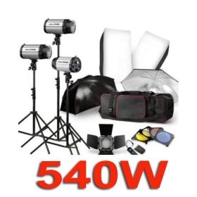 540W Studio Flash Stand Lighting Kit umbrella Trigger 3*180W+TRIGGER +Barn Door +SOFTBOX +UMBRELLA +BAG