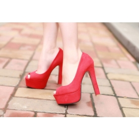 Red high heels rough with waterproof suede wedding shoes super high heels 14cm high-heeled sandals, high heels shoes