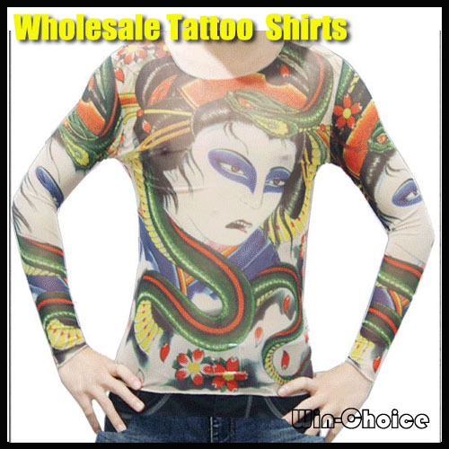 Free shipping 50pcs lot long sleeve tattoo t shirts with for Tattoo sleeve shirts for women