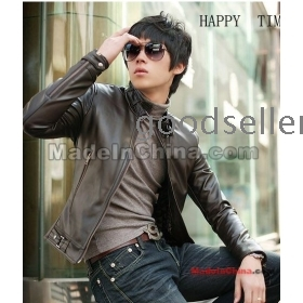 Free shipping new han edition leisure locomotive cultivate one's morality leather jacket pu leather coat man
