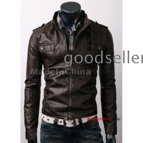 Free shipping 2011 han edition new popularity of brief paragraph PU male classical sense jacket male black brown  leather