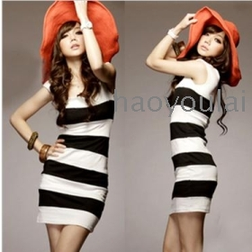 2012 new summer outfit of cultivate one's morality show thin kylie minogue sexy black and white stripe vest wide dress son