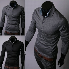 New Korean version of the self special color casual men's long sleeve men's  T-shirt