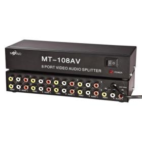 8 port video audio splitter MT-108AV 1.A 8kivéve AV elválasztó RCA Splitter