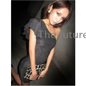 Silver thin shoulder inclined shoulder bag buttock  leaf sleeve dress