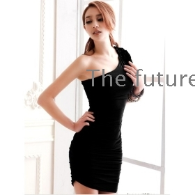 Fashion sexy night club must receive bag buttock waist thin body inclined shoulder  dress