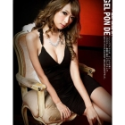 Sexy night club outfit leak back dress dress condole belt of carve patterns or designs on woodwork