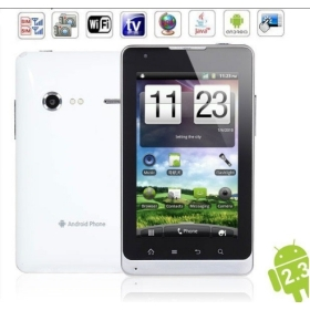 5.0 inch Android 2.3 E8 WCDMA+GSM Wifi GPS Analog TV Dual Cards Capacitive  Screen 3G Smartphone (White)
