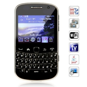 2.4 inch   Screen Cell Phone Dual SIM WiFi Analog TV QWERTY Keyboard (black/red)