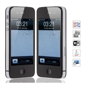 3.5 inch S888 Cell Phone WiFi Dual SIM Capacitive  Screen (Black)