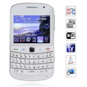 2.4 inch  Screen Cell Phone Dual SIM WiFi Analog TV QWERTY Keyboard  (white)