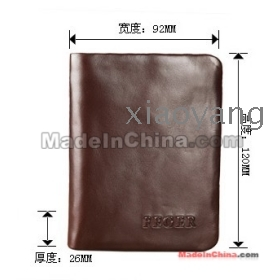 free shipping men wallet Two folder zipper wallet brown color brand new good quality