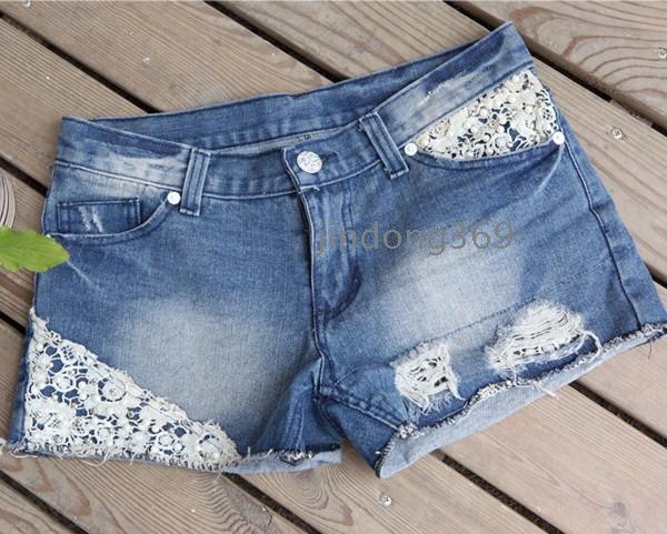 Lace Darmowa wysyłka 2012 kobiet Nowej Hole mody nity spodenki jeans szorty 8307