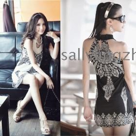 2013 New Free shipping Retro Totem sleeveless dress, bohemian skirts,women dress