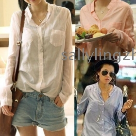 Free shipping 100% good quality cotton women's shirts outerwear,women blouse,ladies' blouse 4 color size M,L,XL